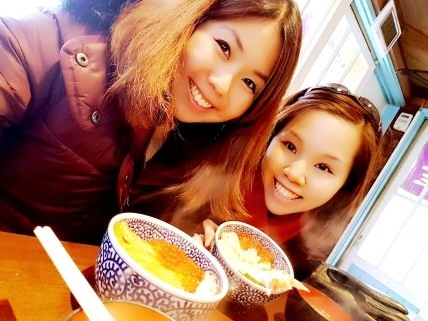 My sister and I (hers was a salmon ikura bowl)